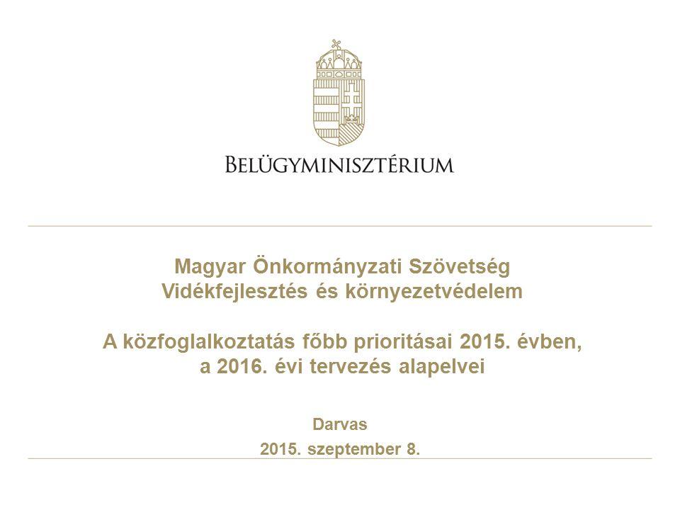 Magyar Önkormányzati Szövetség Vidékfejlesztés és környezetvédelem A közfoglalkoztatás főbb prioritásai 2015. évben, a 2016. évi tervezés alapelvei