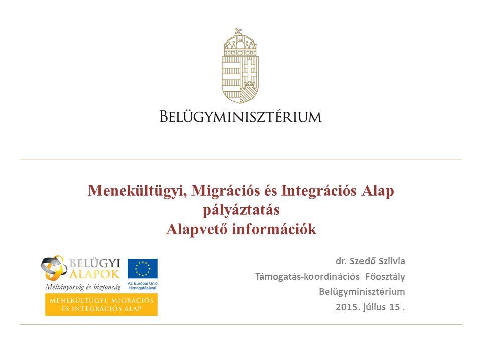 Menekültügyi, Migrációs és Integrációs Alap pályáztatás Alapvető információk