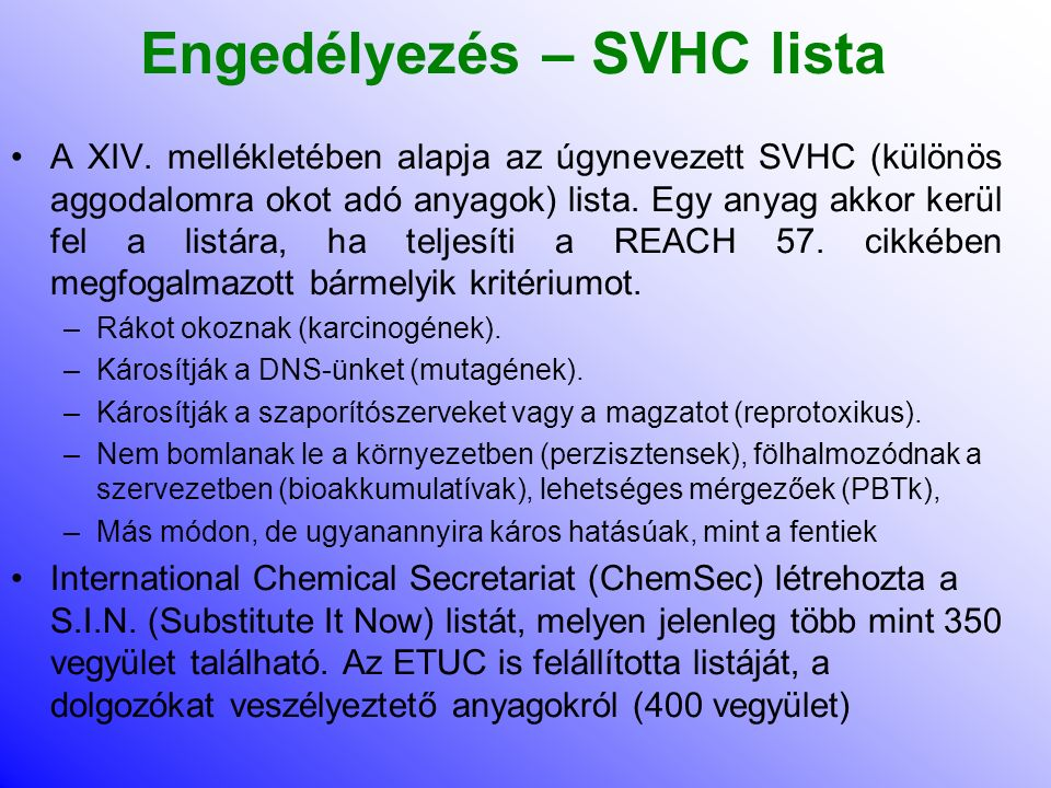 Engedélyezés – SVHC lista