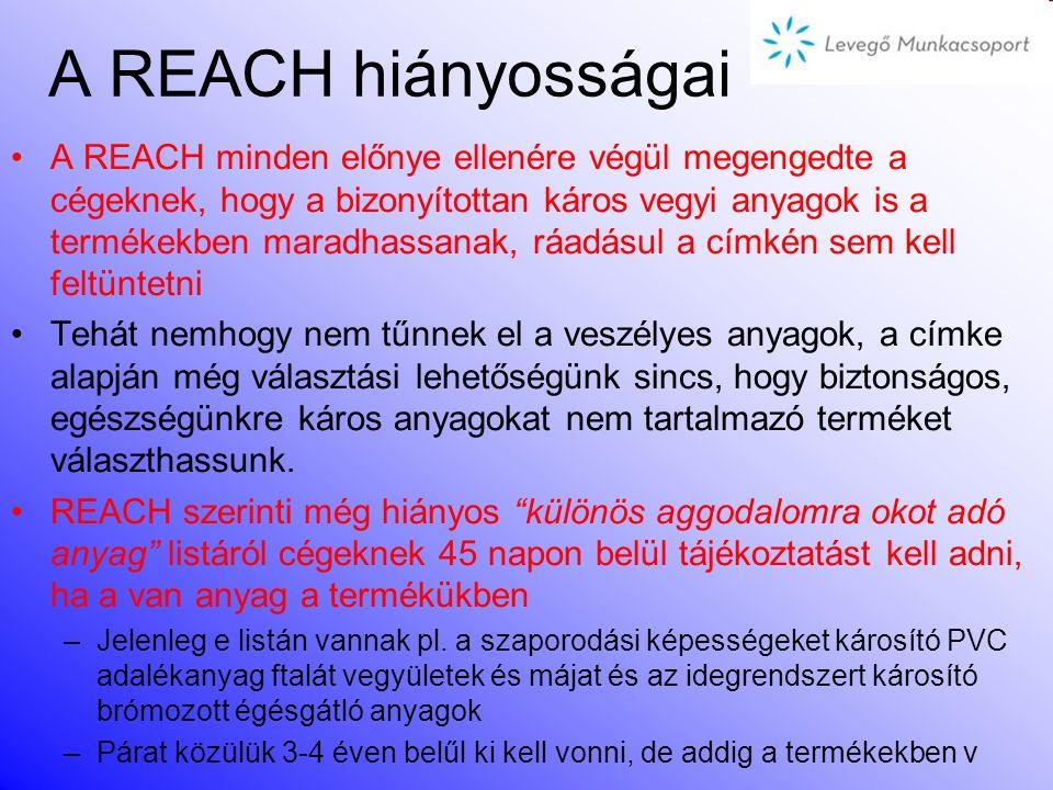A REACH hiányosságai