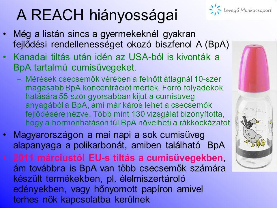 A REACH hiányosságai Még a listán sincs a gyermekeknél gyakran fejlődési rendellenességet okozó biszfenol A (BpA)