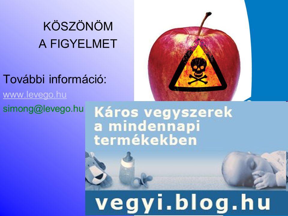 KÖSZÖNÖM A FIGYELMET További információ: www.levego.hu