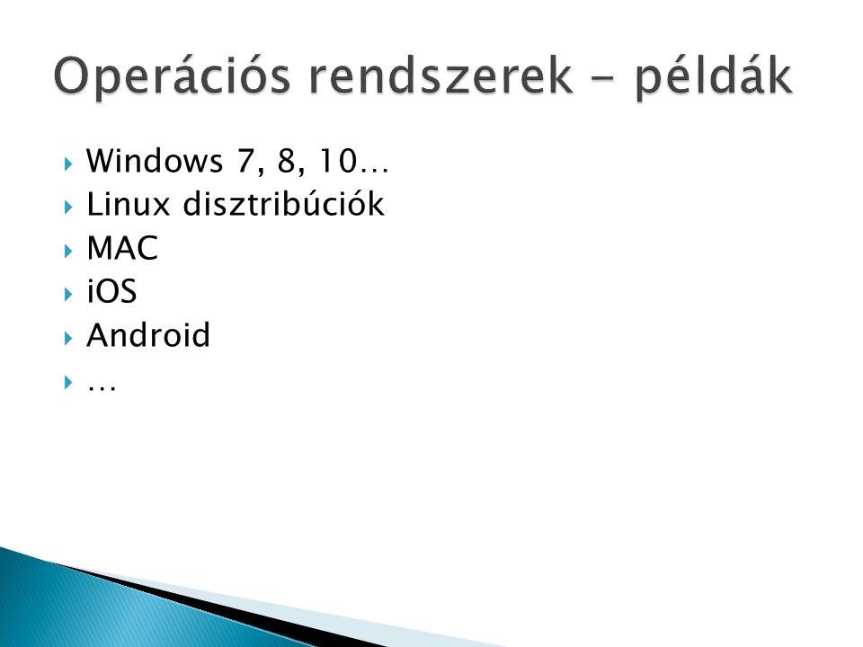 Operációs rendszerek - példák