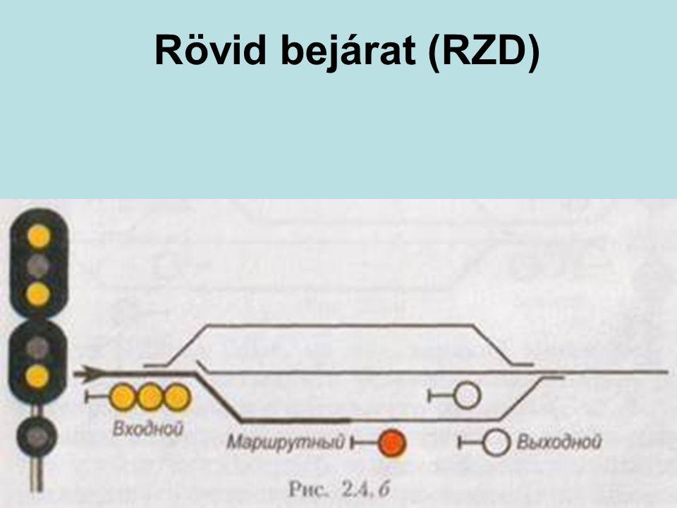 Rövid bejárat (RZD) Lényegében az OSZZSD sebességjelzési rendszer, de néhány különlegességgel.