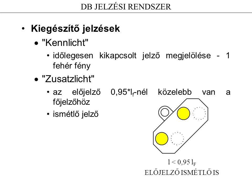 Kiegészítő jelzések Kennlicht Zusatzlicht DB JELZÉSI RENDSZER