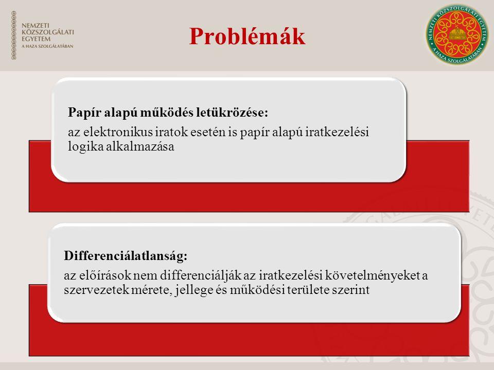 Problémák Differenciálatlanság: Papír alapú működés letükrözése: