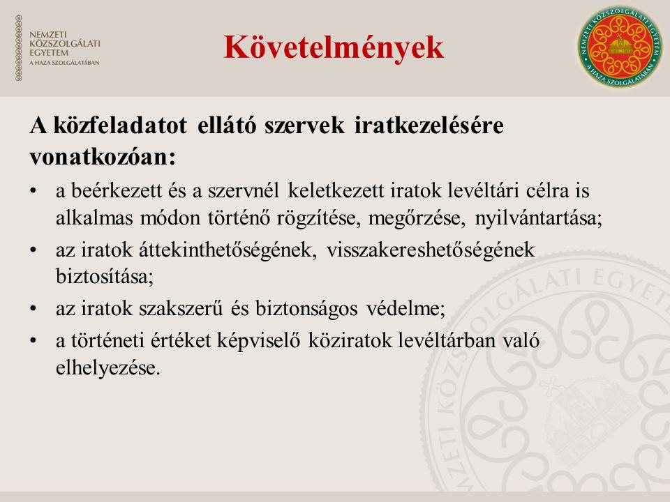 Követelmények A közfeladatot ellátó szervek iratkezelésére vonatkozóan:
