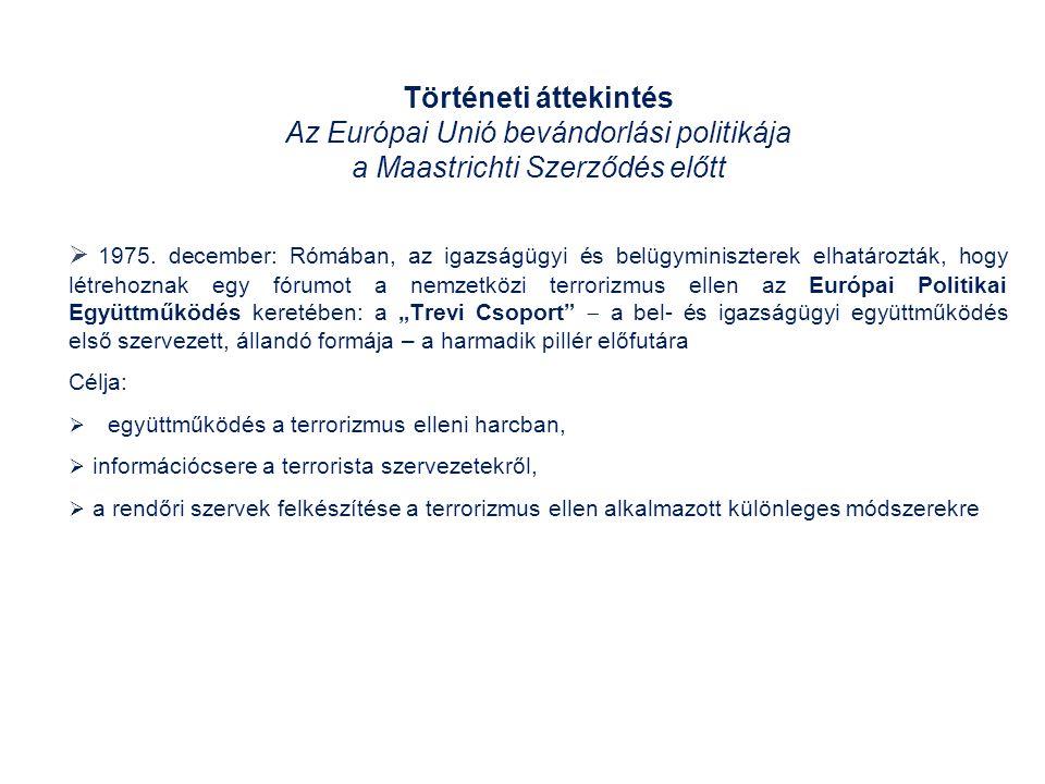 Az Európai Unió bevándorlási politikája a Maastrichti Szerződés előtt