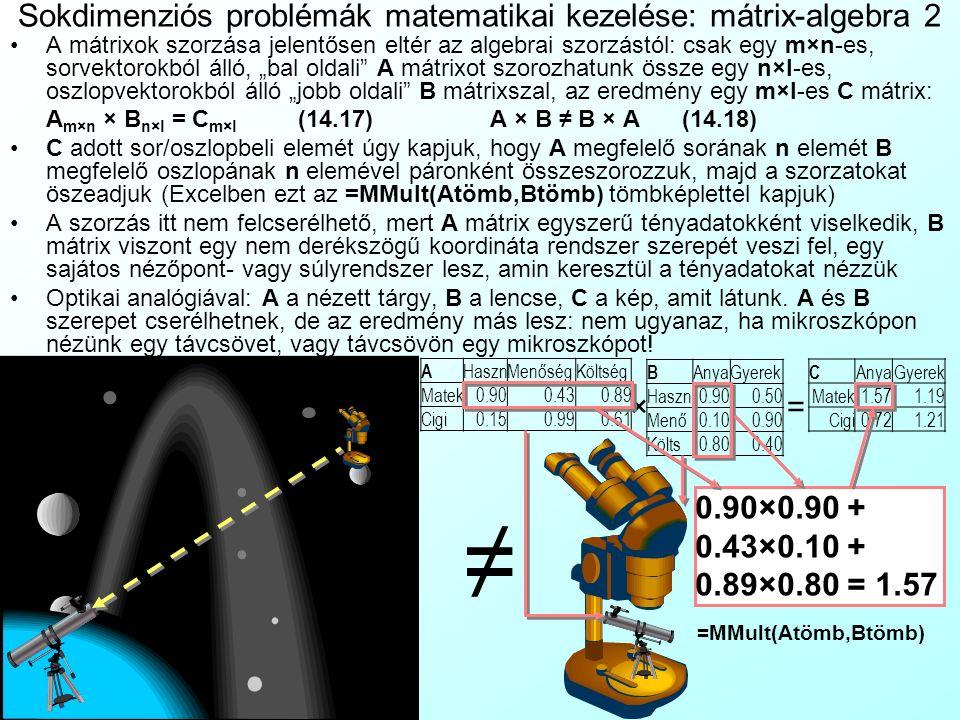 Sokdimenziós problémák matematikai kezelése: mátrix-algebra 2