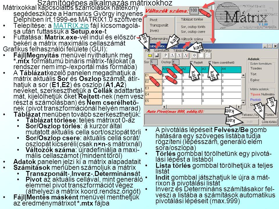 Számítógépes alkalmazás mátrixokhoz