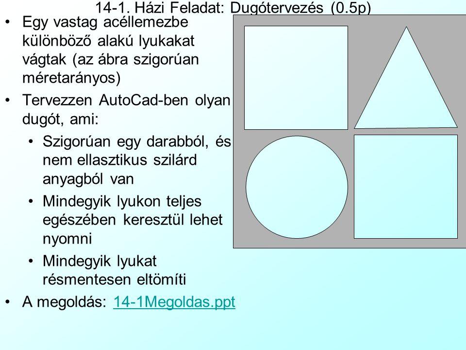 14-1. Házi Feladat: Dugótervezés (0.5p)