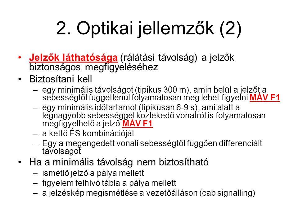 2. Optikai jellemzők (2) Jelzők láthatósága (rálátási távolság) a jelzők biztonságos megfigyeléséhez.