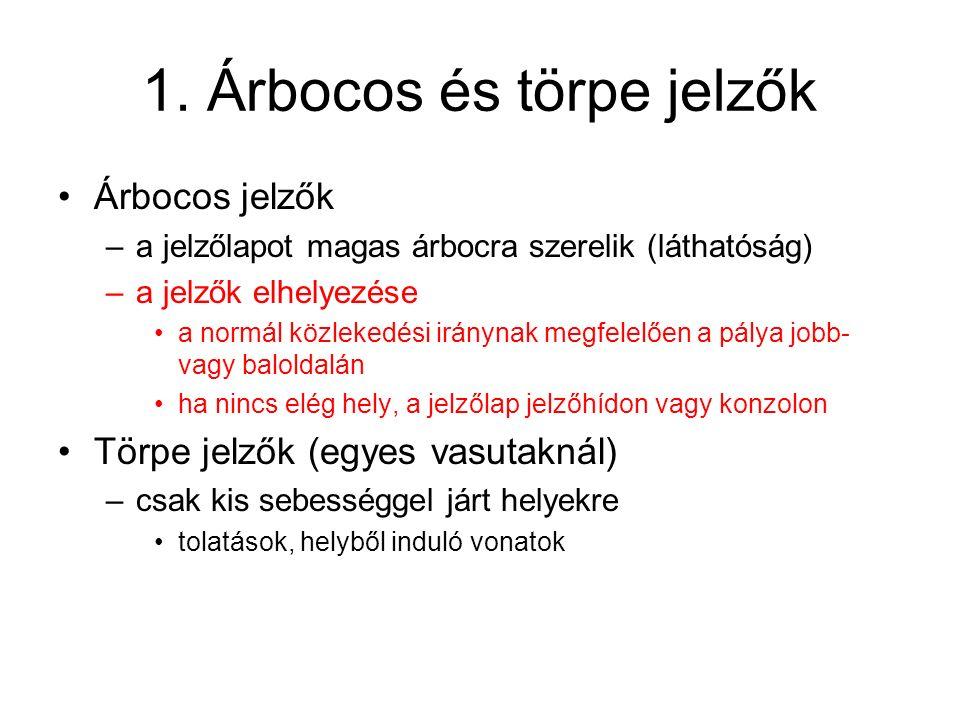 1. Árbocos és törpe jelzők