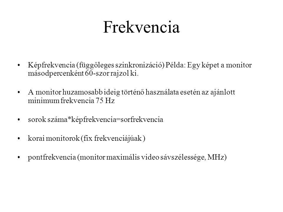 Frekvencia Képfrekvencia (függőleges szinkronizáció) Példa: Egy képet a monitor másodpercenként 60-szor rajzol ki.