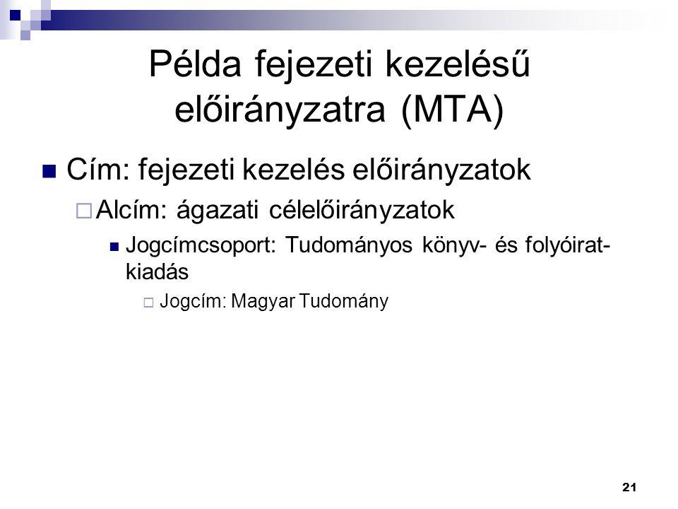 Példa fejezeti kezelésű előirányzatra (MTA)
