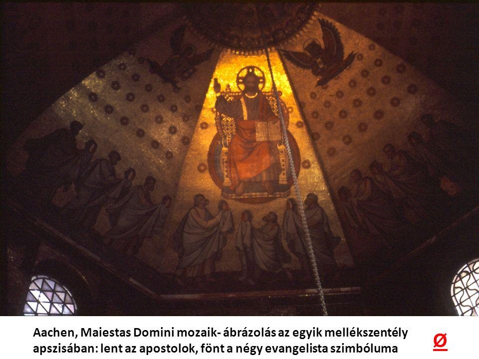 Aachen, Maiestas Domini mozaik- ábrázolás az egyik mellékszentély apszisában: lent az apostolok, fönt a négy evangelista szimbóluma