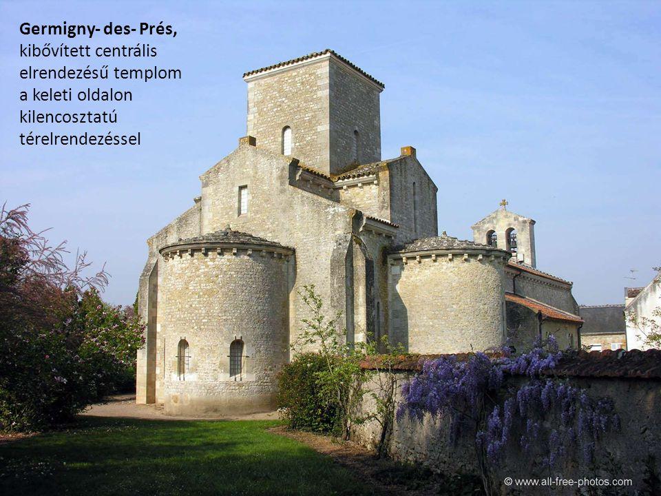 Germigny- des- Prés, kibővített centrális elrendezésű templom.