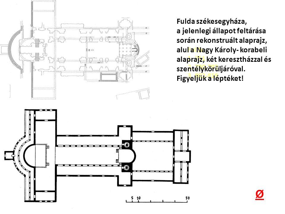 Fulda székesegyháza, a jelenlegi állapot feltárása során rekonstruált alaprajz,