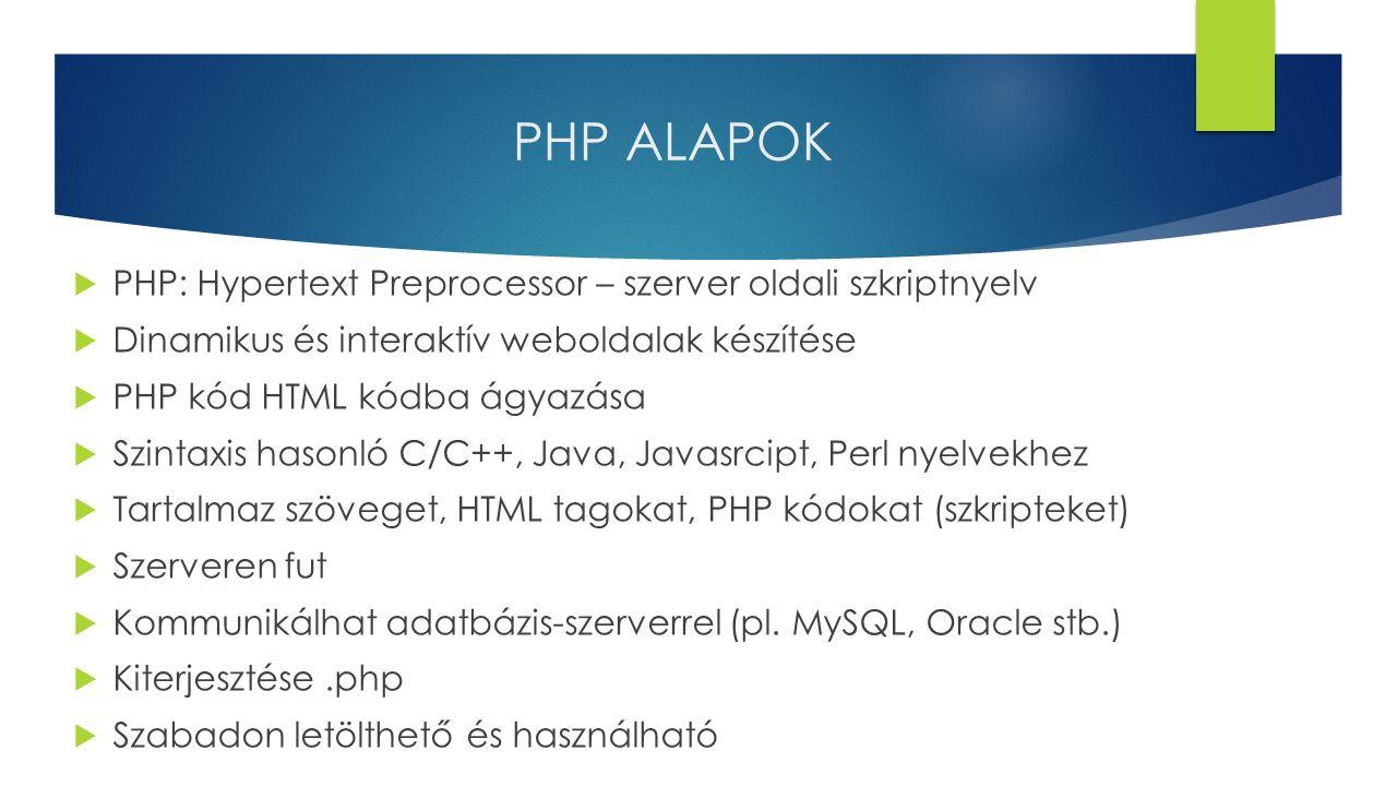 PHP ALAPOK PHP: Hypertext Preprocessor – szerver oldali szkriptnyelv