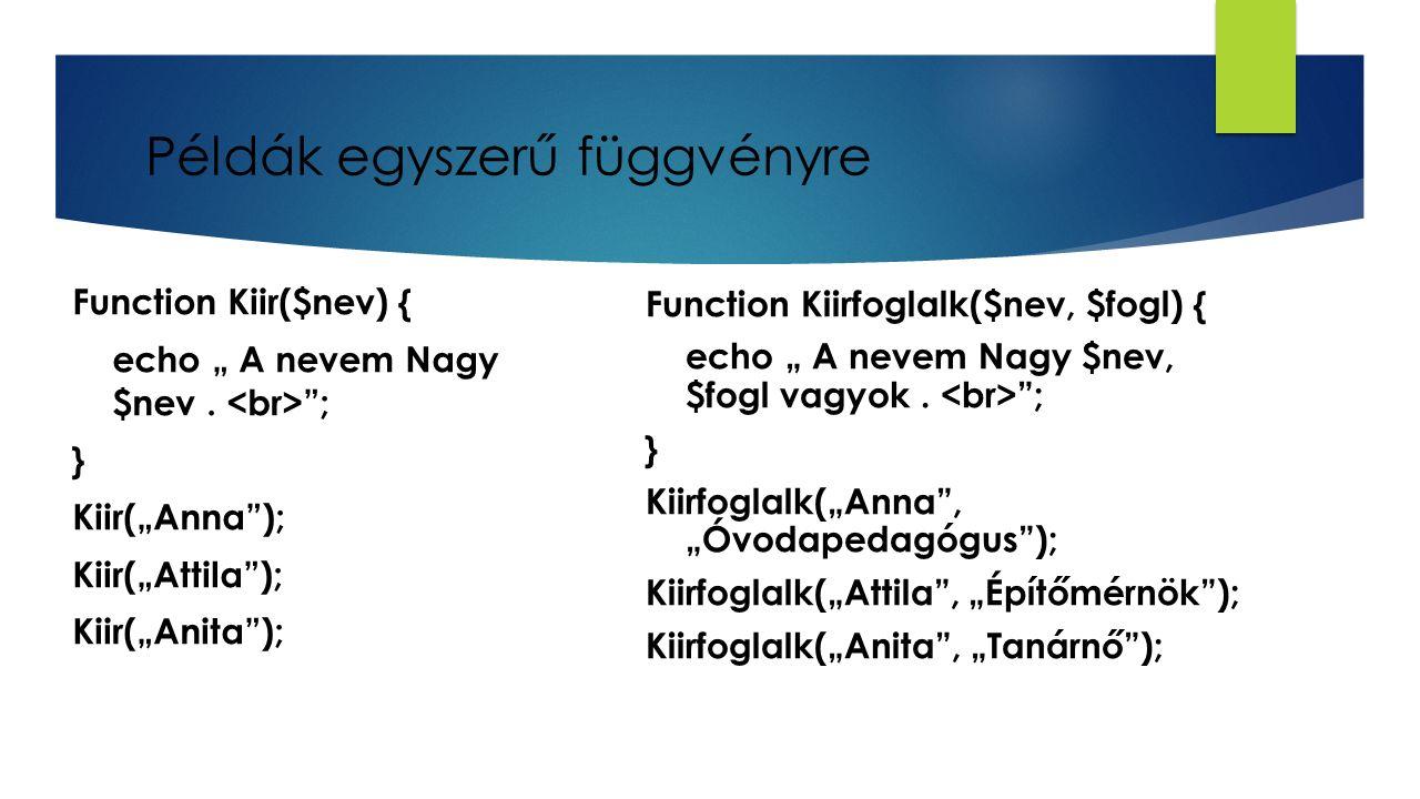 Példák egyszerű függvényre