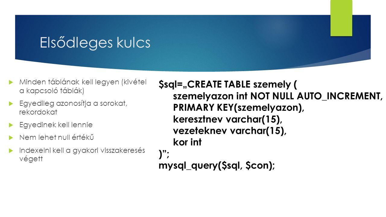 """Elsődleges kulcs $sql=""""CREATE TABLE szemely ("""