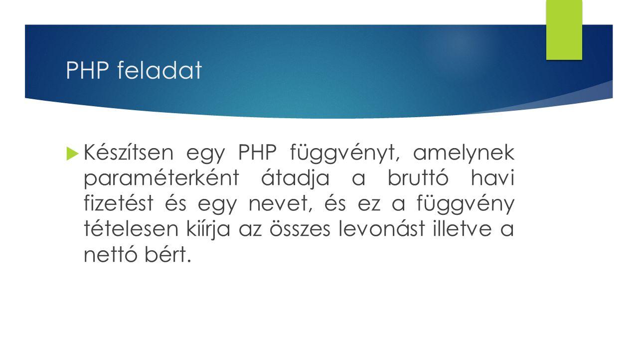 PHP feladat