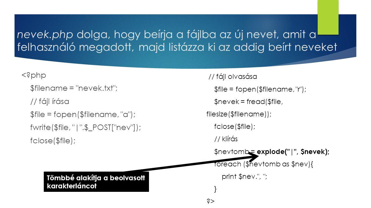 nevek.php dolga, hogy beírja a fájlba az új nevet, amit a felhasználó megadott, majd listázza ki az addig beírt neveket