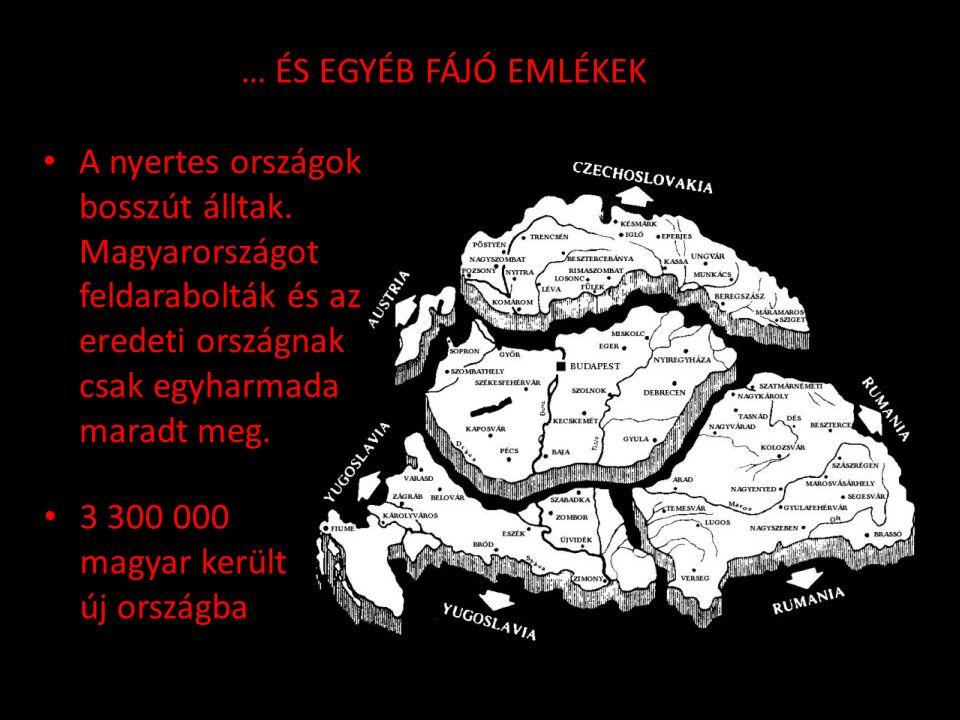 … ÉS EGYÉB FÁJÓ EMLÉKEK A nyertes országok bosszút álltak. Magyarországot feldarabolták és az eredeti országnak csak egyharmada maradt meg.