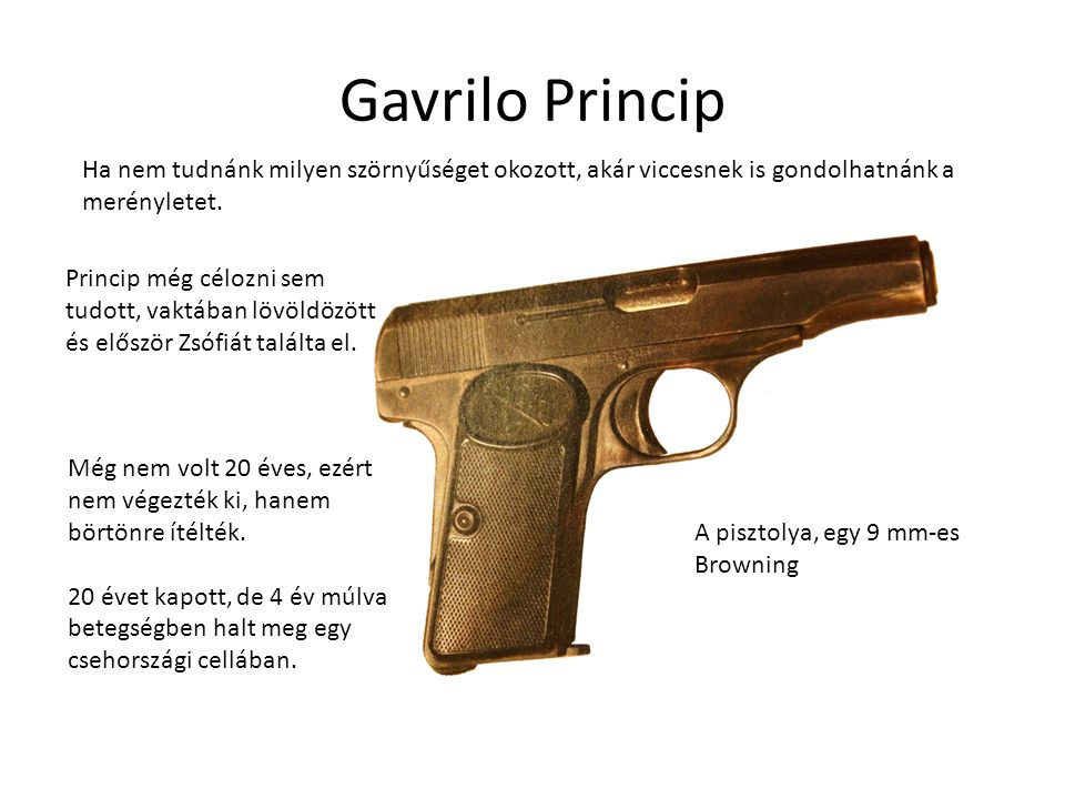 Gavrilo Princip Ha nem tudnánk milyen szörnyűséget okozott, akár viccesnek is gondolhatnánk a merényletet.