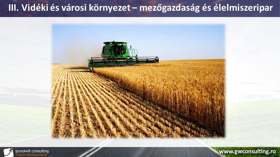 III. Vidéki és városi környezet – mezőgazdaság és élelmiszeripar