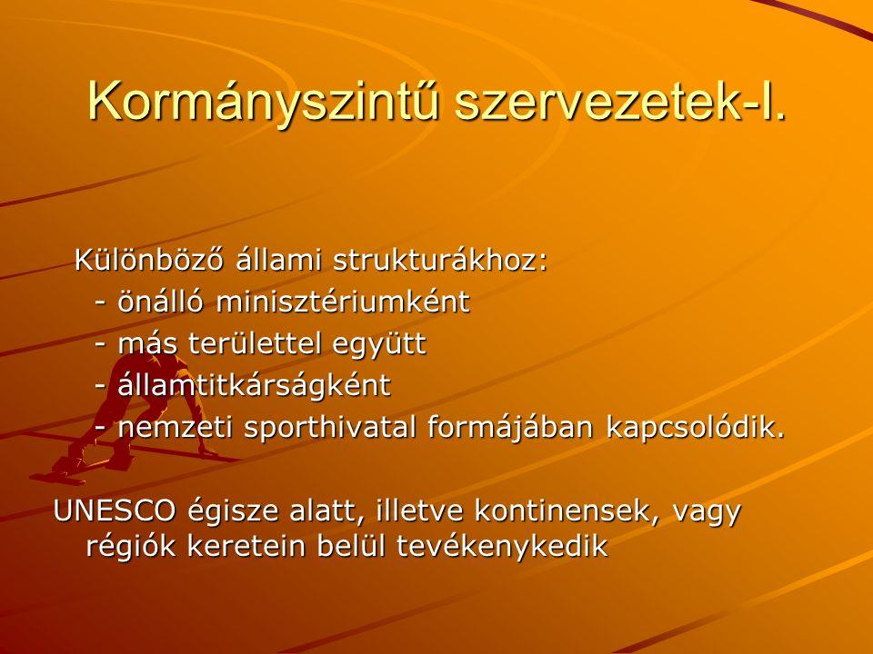 Kormányszintű szervezetek-I.