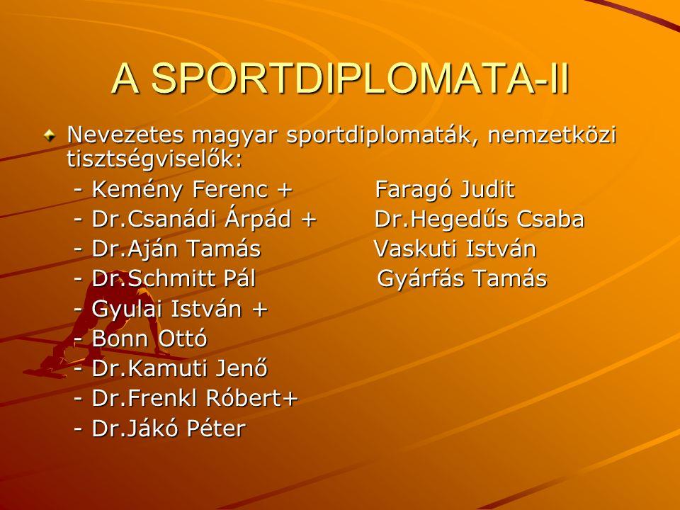A SPORTDIPLOMATA-II Nevezetes magyar sportdiplomaták, nemzetközi tisztségviselők: - Kemény Ferenc + Faragó Judit.