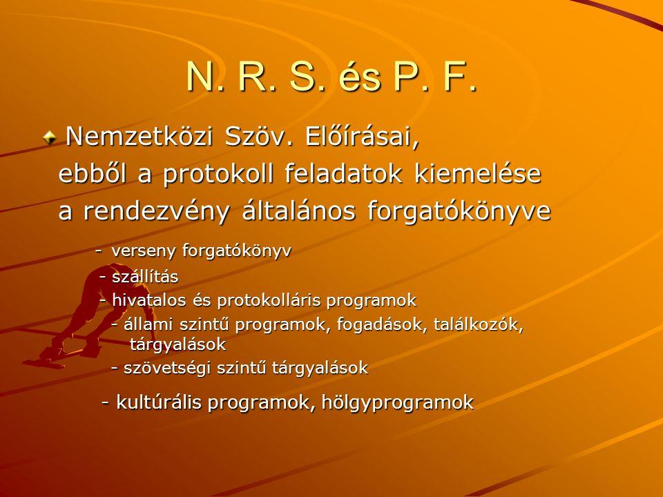 N. R. S. és P. F. Nemzetközi Szöv. Előírásai,