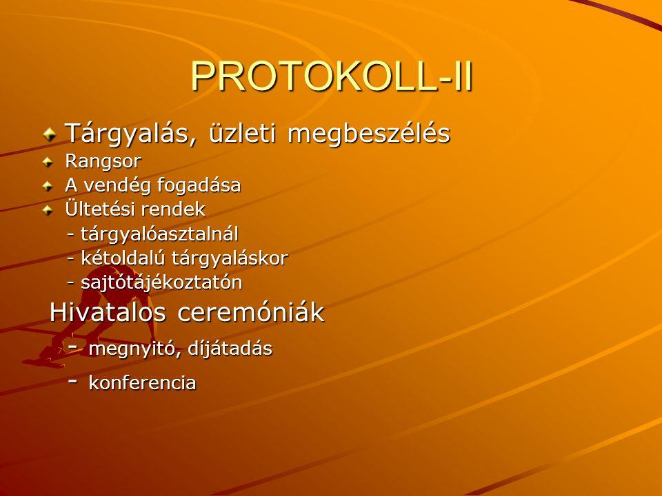 PROTOKOLL-II Tárgyalás, üzleti megbeszélés Hivatalos ceremóniák
