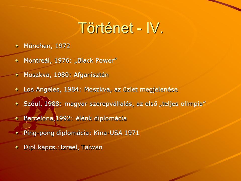 """Történet - IV. München, 1972 Montreál, 1976: """"Black Power"""