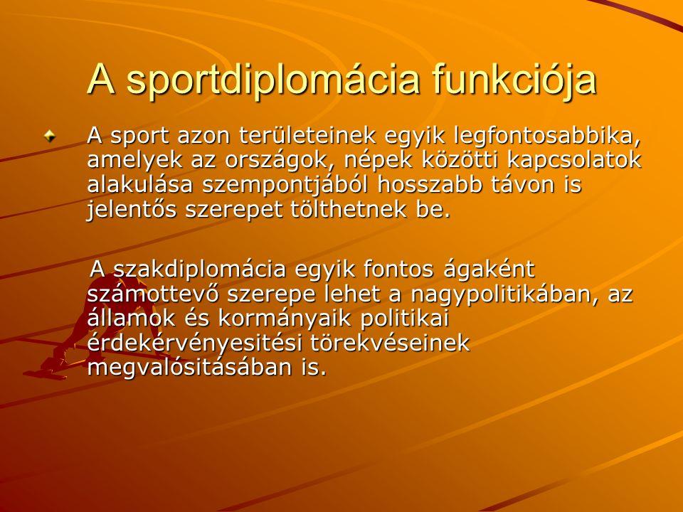 A sportdiplomácia funkciója
