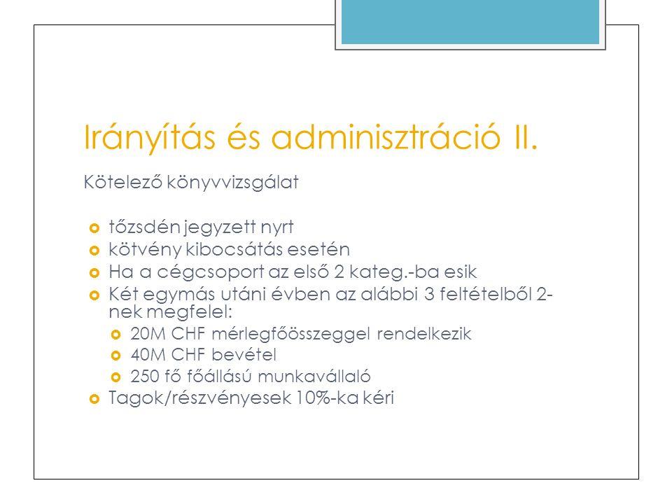 Irányítás és adminisztráció II.