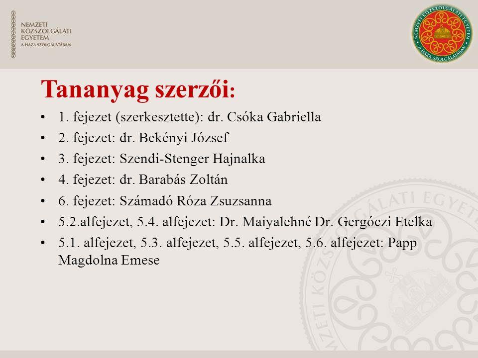 Tananyag szerzői: 1. fejezet (szerkesztette): dr. Csóka Gabriella