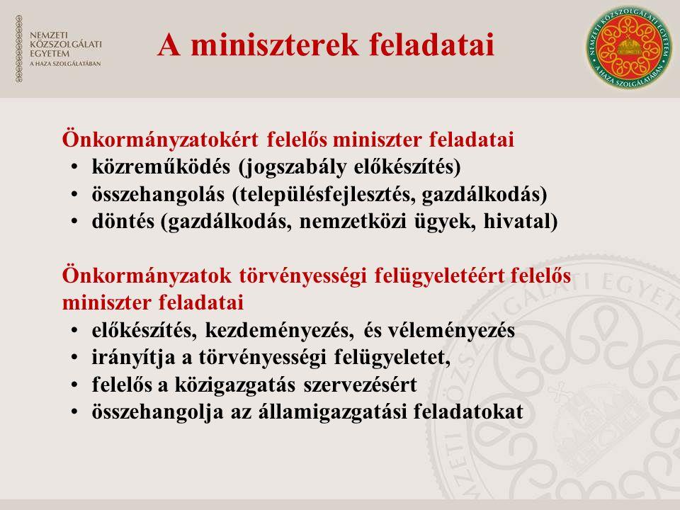 A miniszterek feladatai