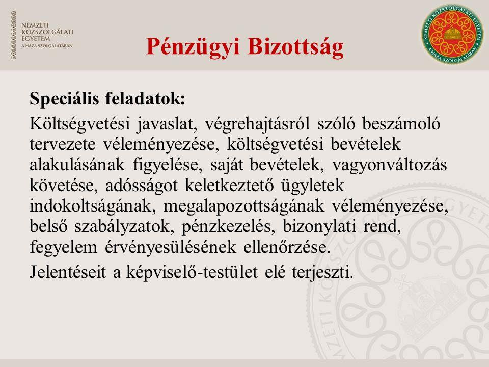 Pénzügyi Bizottság Speciális feladatok: