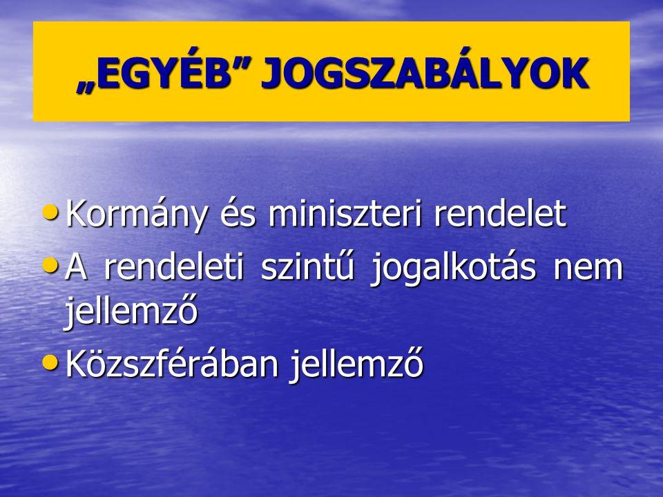 """""""EGYÉB JOGSZABÁLYOK Kormány és miniszteri rendelet"""