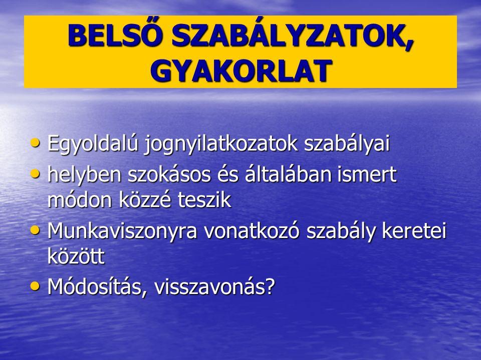 BELSŐ SZABÁLYZATOK, GYAKORLAT