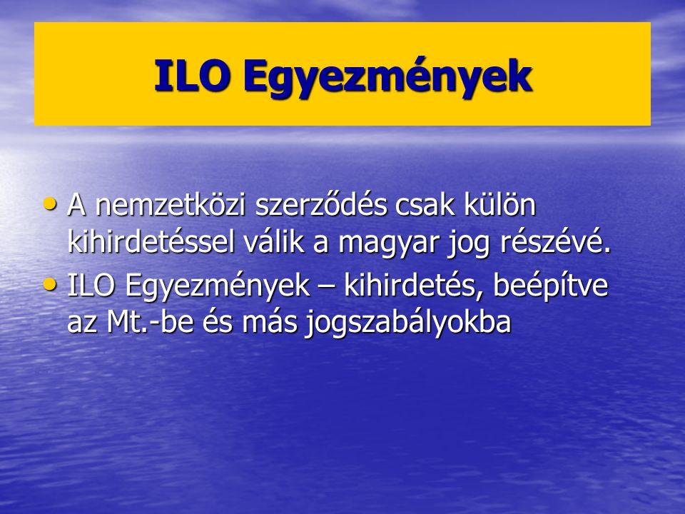 ILO Egyezmények A nemzetközi szerződés csak külön kihirdetéssel válik a magyar jog részévé.