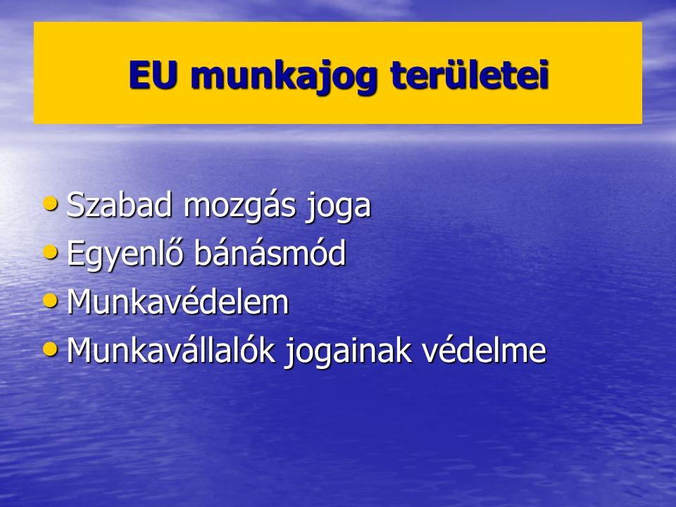 EU munkajog területei Szabad mozgás joga Egyenlő bánásmód Munkavédelem