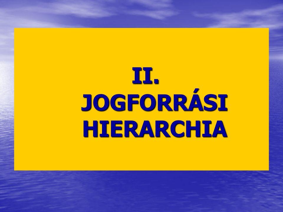 II. JOGFORRÁSI HIERARCHIA