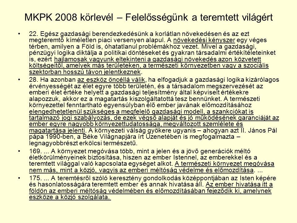 MKPK 2008 körlevél – Felelősségünk a teremtett világért