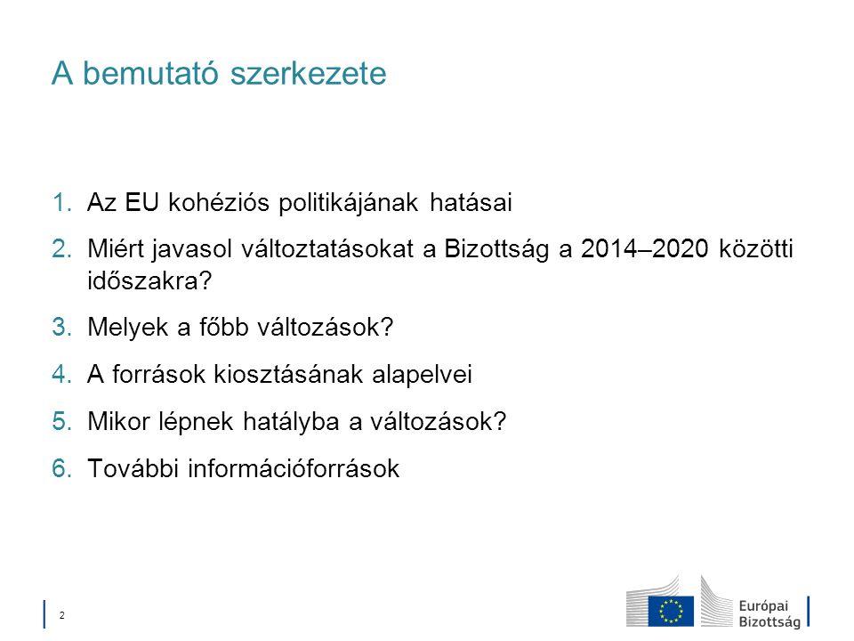 A bemutató szerkezete Az EU kohéziós politikájának hatásai