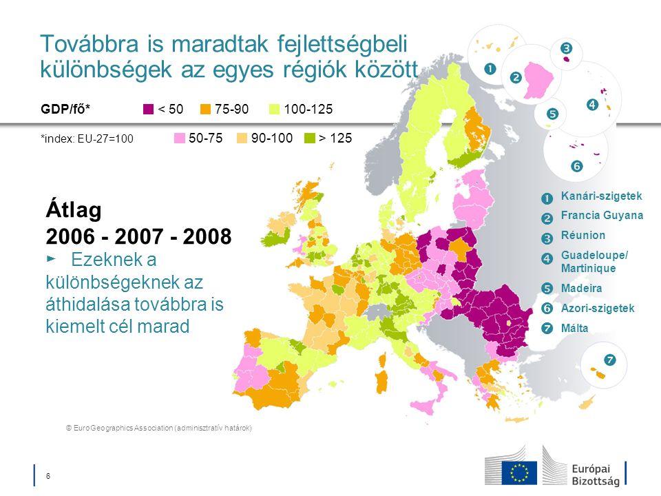 Továbbra is maradtak fejlettségbeli különbségek az egyes régiók között