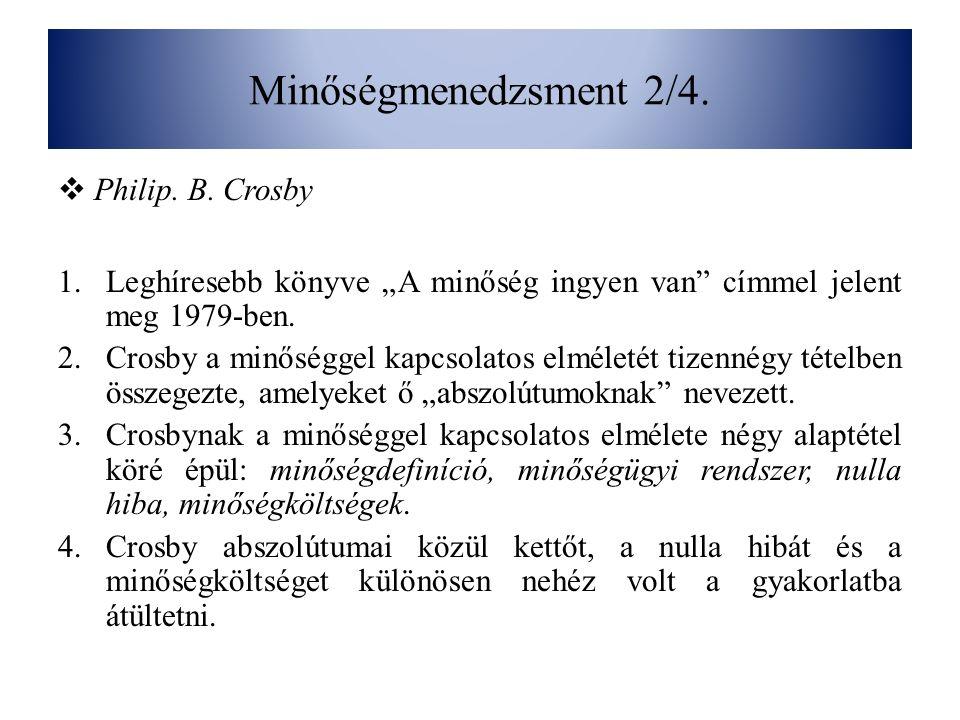 Minőségmenedzsment 2/4. Philip. B. Crosby