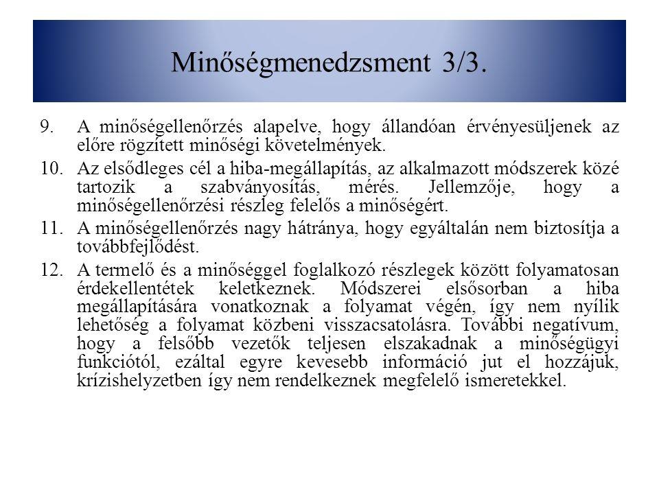 Minőségmenedzsment 3/3. A minőségellenőrzés alapelve, hogy állandóan érvényesüljenek az előre rögzített minőségi követelmények.